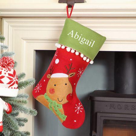 Personalised Smiling Rudolph Pom Pom Christmas Stocking