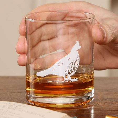 Set of 4 Etched Pheasant Whisky Tumblers