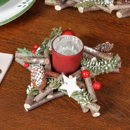 Frosted Woodland Star Candle Holder