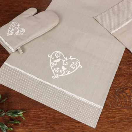 Grey Love Birds Fabric Table Runner