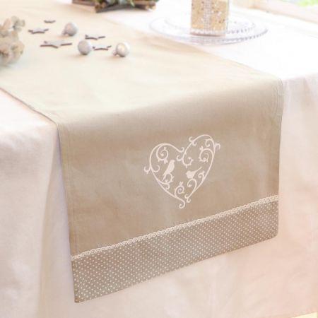 Grey Love Birds Fabric Table Runner