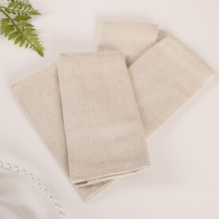Set of 4 Natural Plain Fabric Napkins