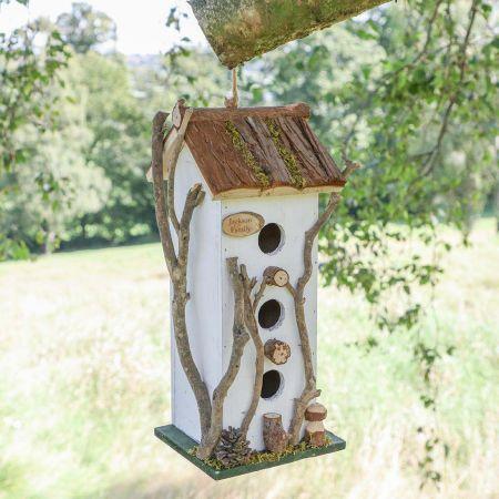 Personalised White Cottage Three Window Bird House