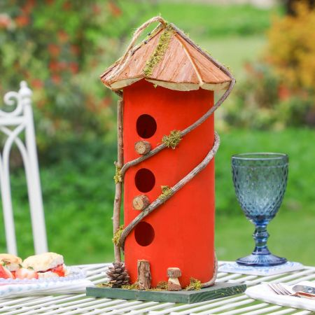 Red Three Tier Natural Wooden Bird House