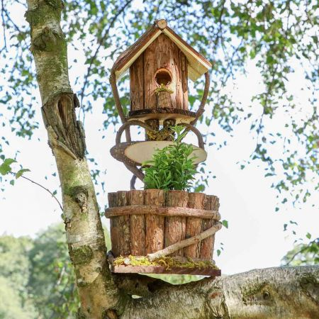 Wooden Bird Box and Flower Pot