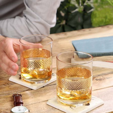 Set of 2 Weighted Thick Based Liquor Glasses