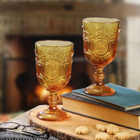 Set of 2 Ornately Designed Amber Drinks Goblets