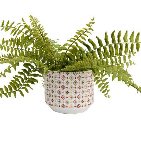 Diamond Print Ceramic Flower Pot Planter