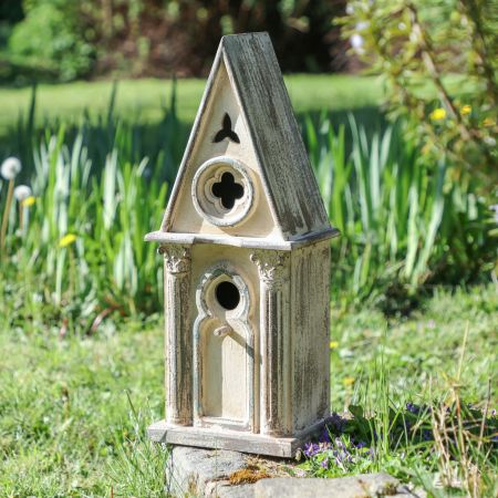 Large Traditional Country Garden Carved Wooden Bird House