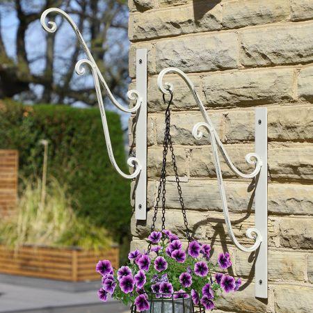 Set of Two Ivory White Hanging Basket Brackets