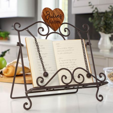 Personalised Antique Brown Cookbook Stand with Heart