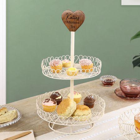 Double Layered Cream Cast Iron Cake Stand