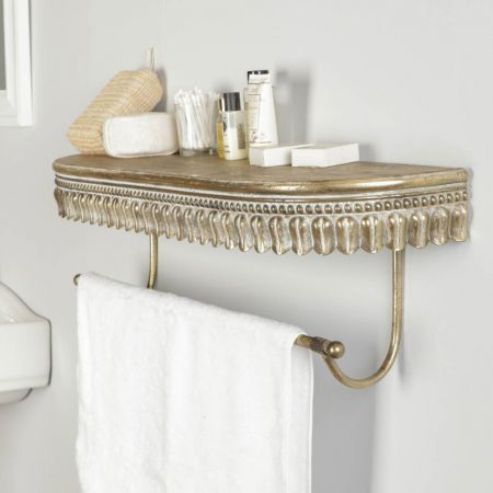 Antique Gold Floating Shelf with Coat Rail