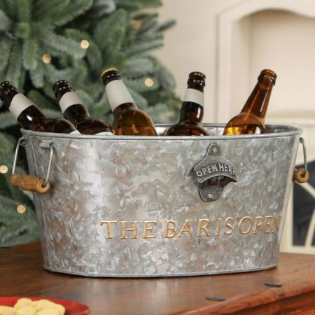 Distressed Silver Large Alcohol Bucket