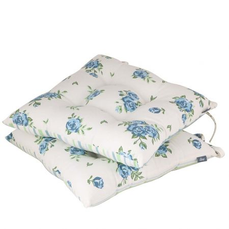 Set of 2 Blue Rose Seat Cushions with Ties
