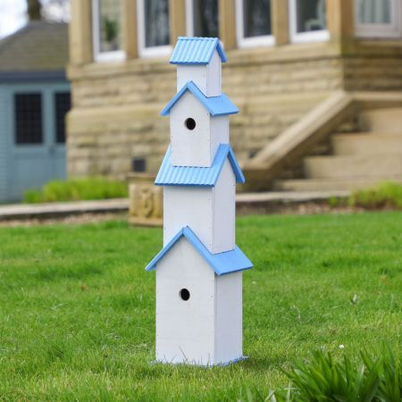 Summer Skies Blue and White 4 Tier Bird House