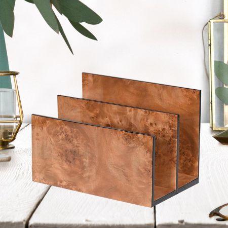 Brown Marble Effect Desk Top Letter Rack