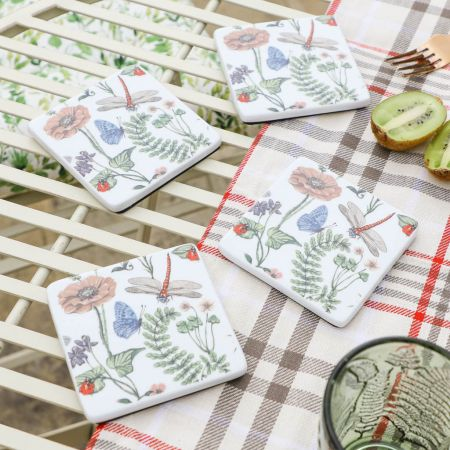 Pressed Flower China Coasters