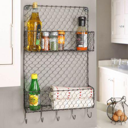 Wire Two Tier Farmhouse Kitchen Wall Storage Rack