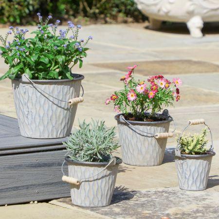 Set of 4 Rippled Garden Bucket Planters