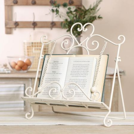 Scrolled Heart Cream Iron Book Stand