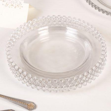 Set of 4 Bella Perle Beaded Edge Glass Side Plates