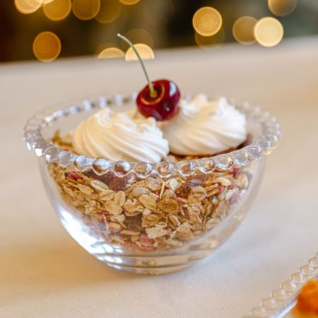 GLASS BOWL WITH BEADED EDGE