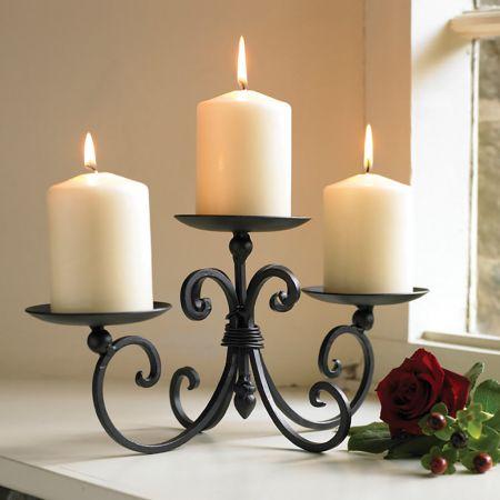 Three Pillar Cast Iron Candle Holder