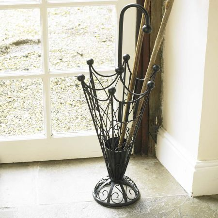 Scrolled Black Iron Brolly Stand