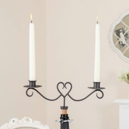 Heart Bottle Stopper with Twin Candle Holders