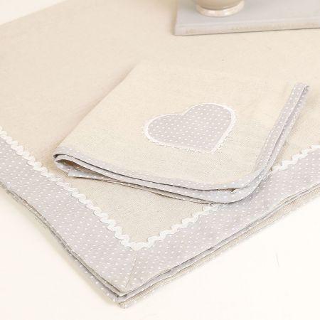Polka Dot Heart Fabric Napkins