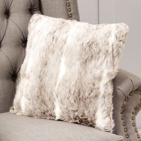 Luxury Snow Lynx Faux Fur Cushion