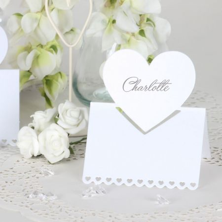 Set of 10 Pearl White Heart Shaped Place Cards