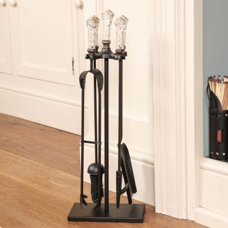 Glass Handled Fireplace Companion Set