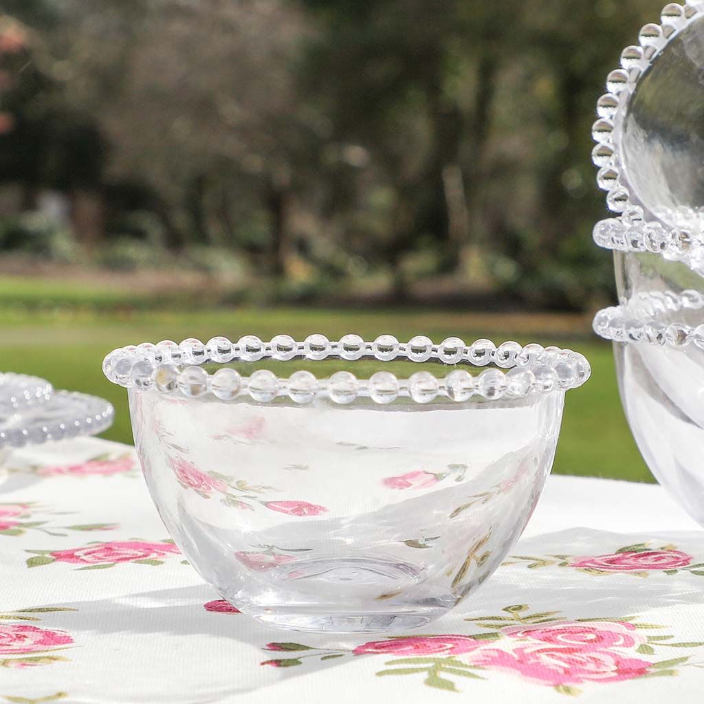 Bella Perle Beaded Glass Bowl With Beaded Edge