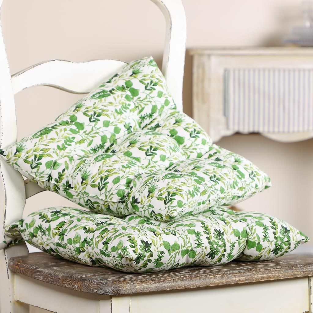 Pair Of Green Botanical Dining Chair Cushions With Ties