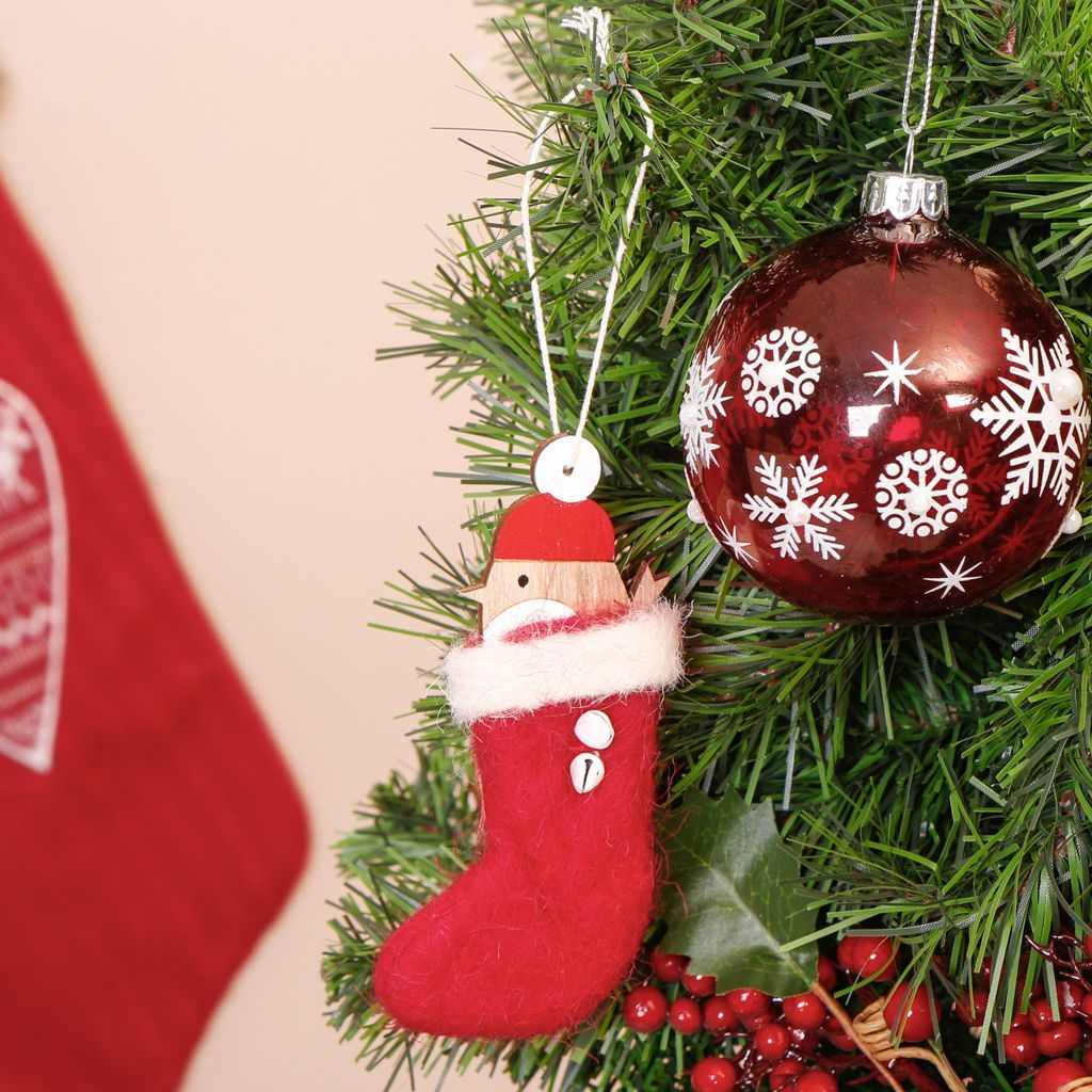 Wood and Felt Red Robin Christmas Tree Decoration