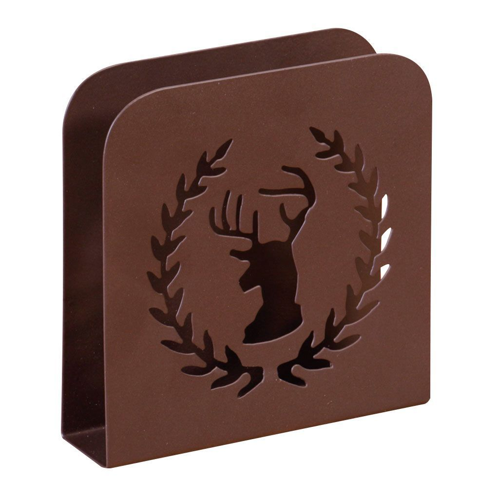 Antique Brown Stag Metal Napkin Holder