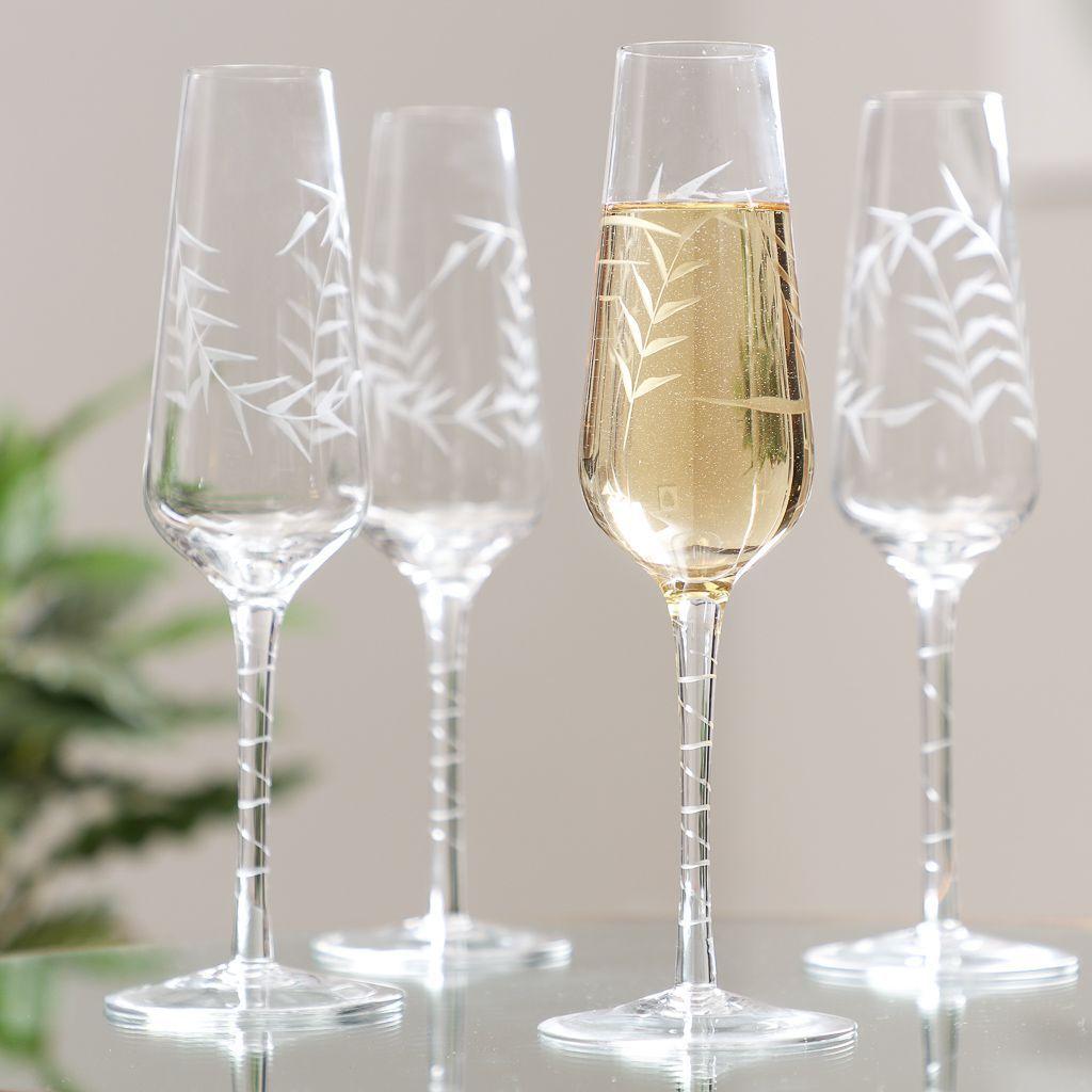 Set Of 4 Leaf Etched Champagne Flutes