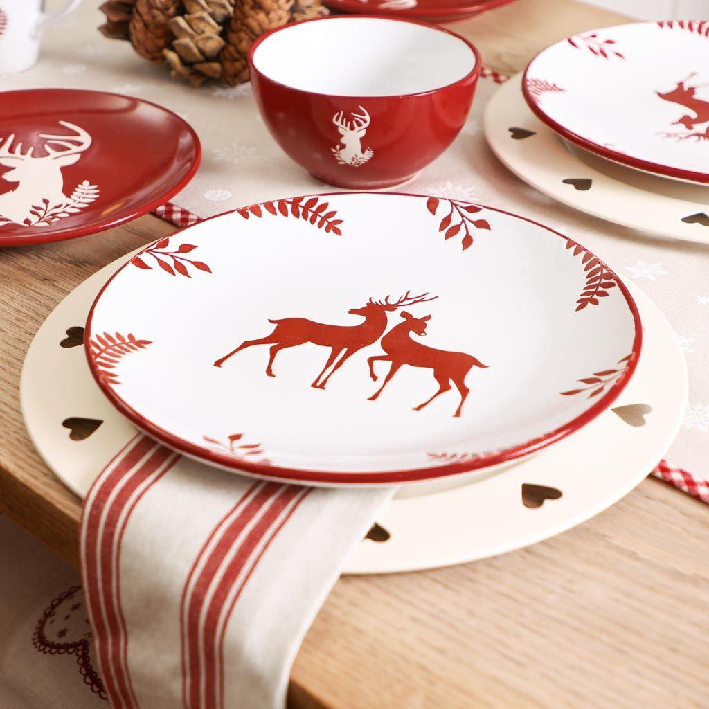 Stoneware Christmas Reindeer Dinner Plate