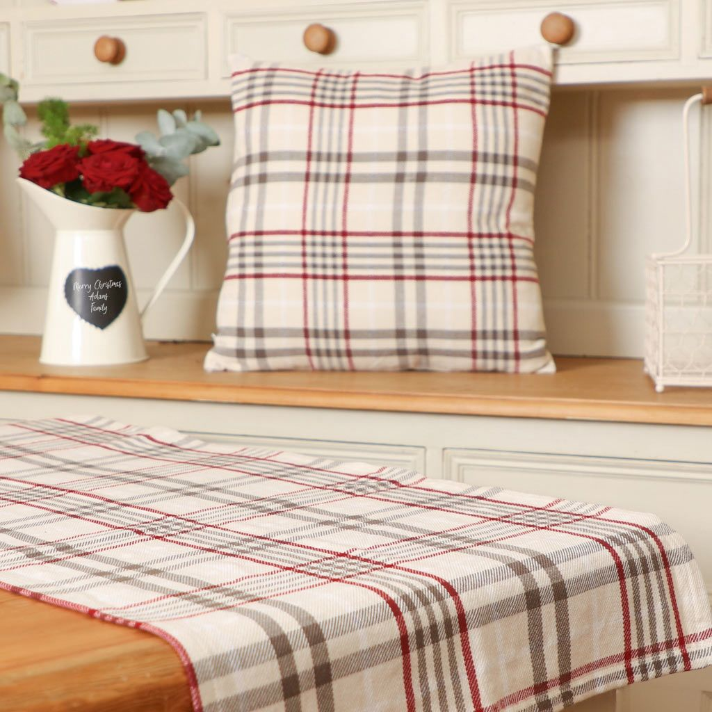 Red And Cream Plaid Table Runner