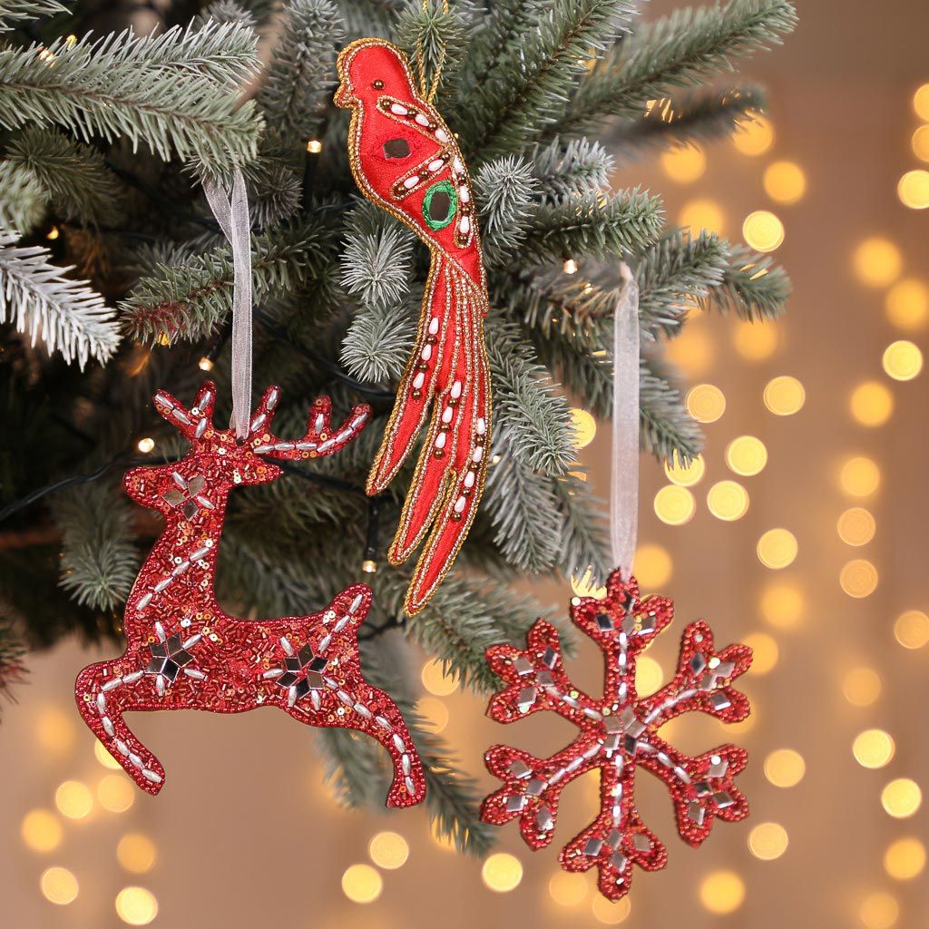 Set Of 3 Opulent Red Christmas Tree Decorations