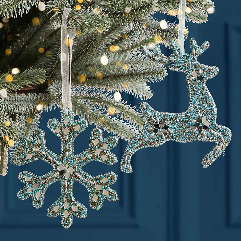 Set Of 6 Frozen Blue Luxury Christmas Tree Decorations