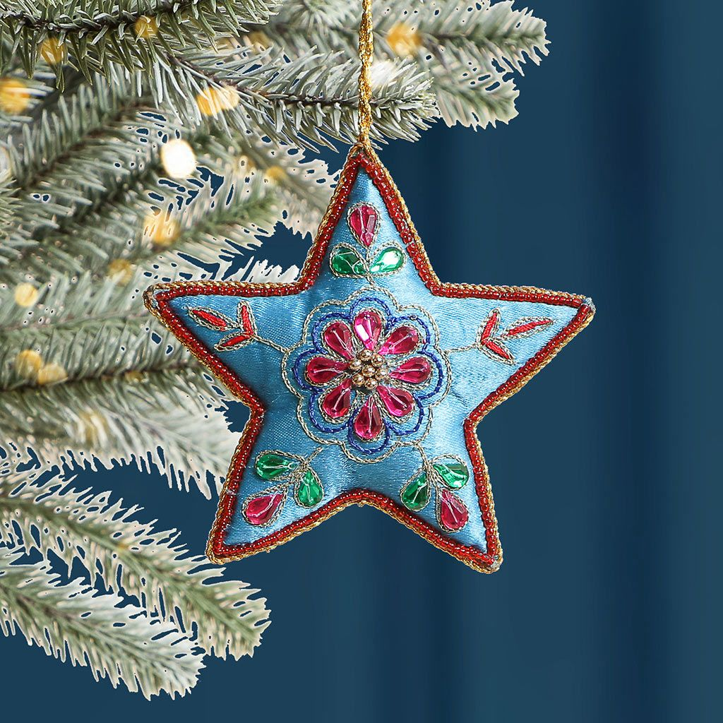 Blue Star Embroidered Hanging Christmas Decoration