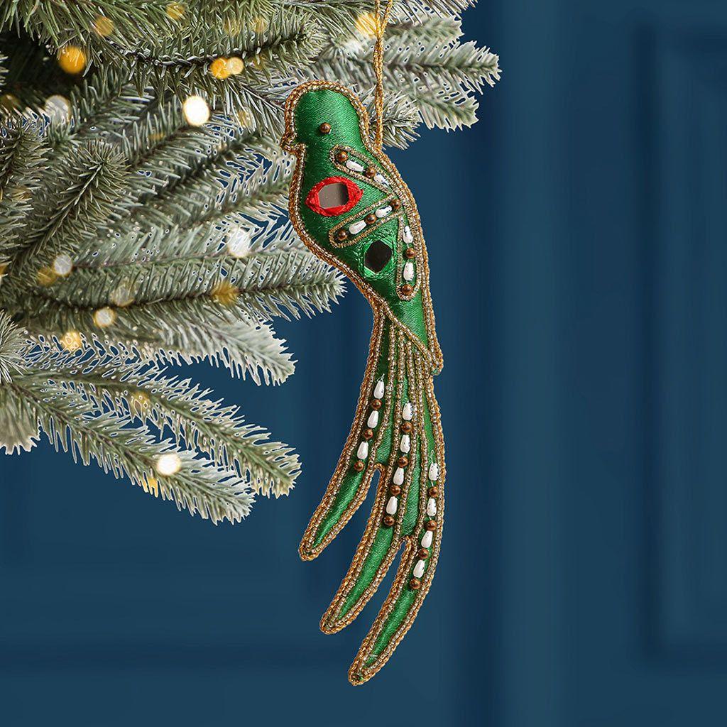 Embroidered Green Bird Christmas Tree Decoration