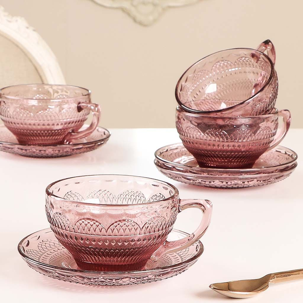 Pink Glass Teacups And Saucers