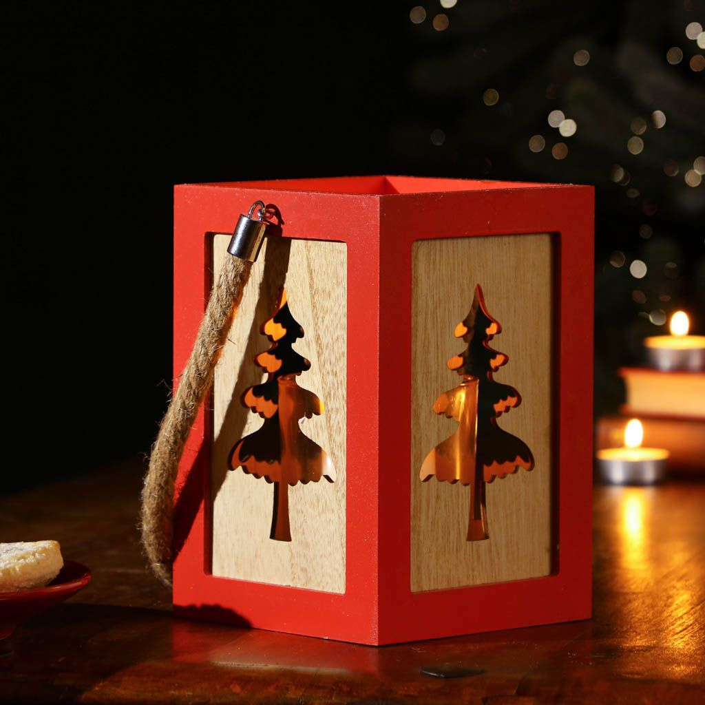 Cranberry Red Wooden Christmas Tree Candle Lantern