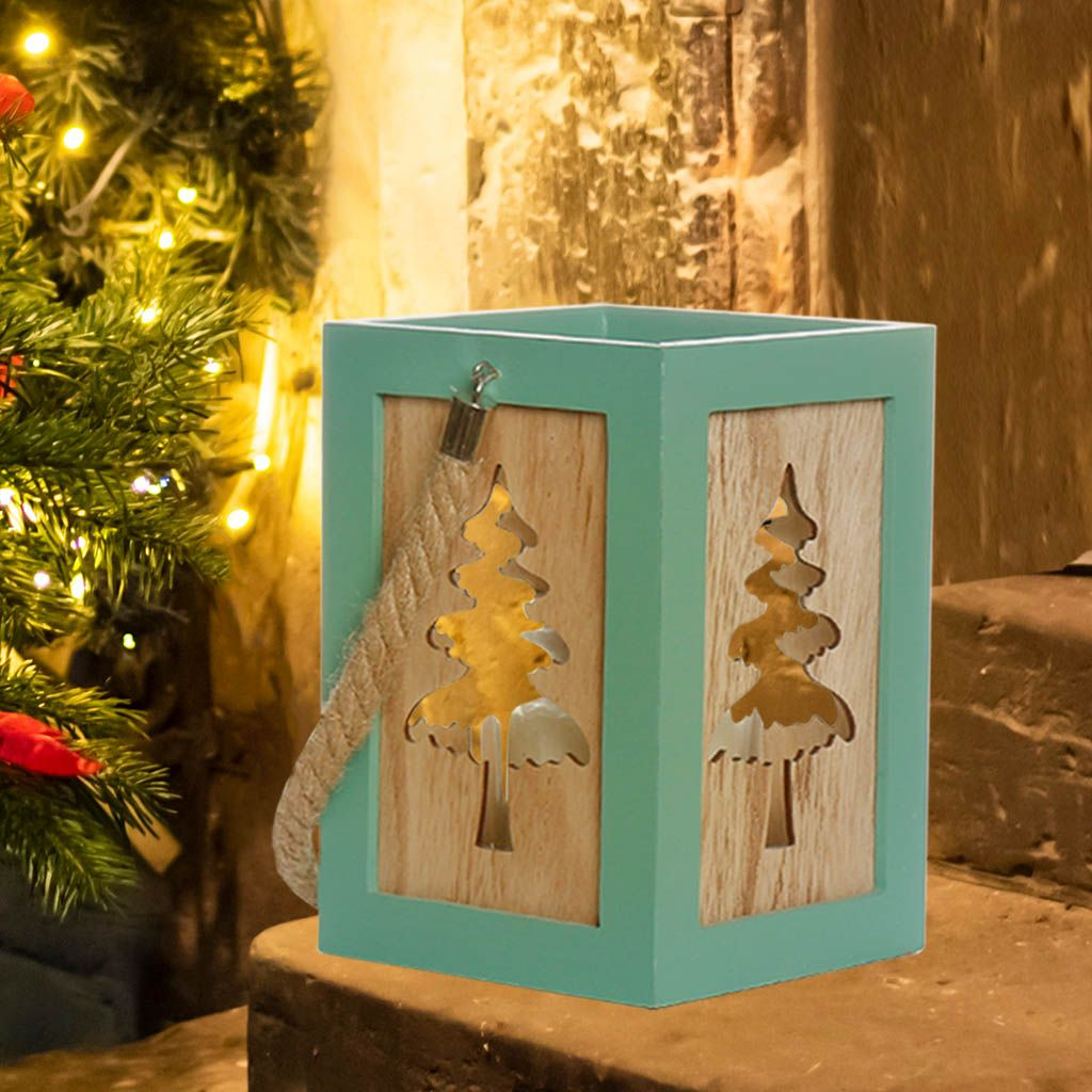 Fresh Peppermint Wooden Christmas Tree Candle Lantern