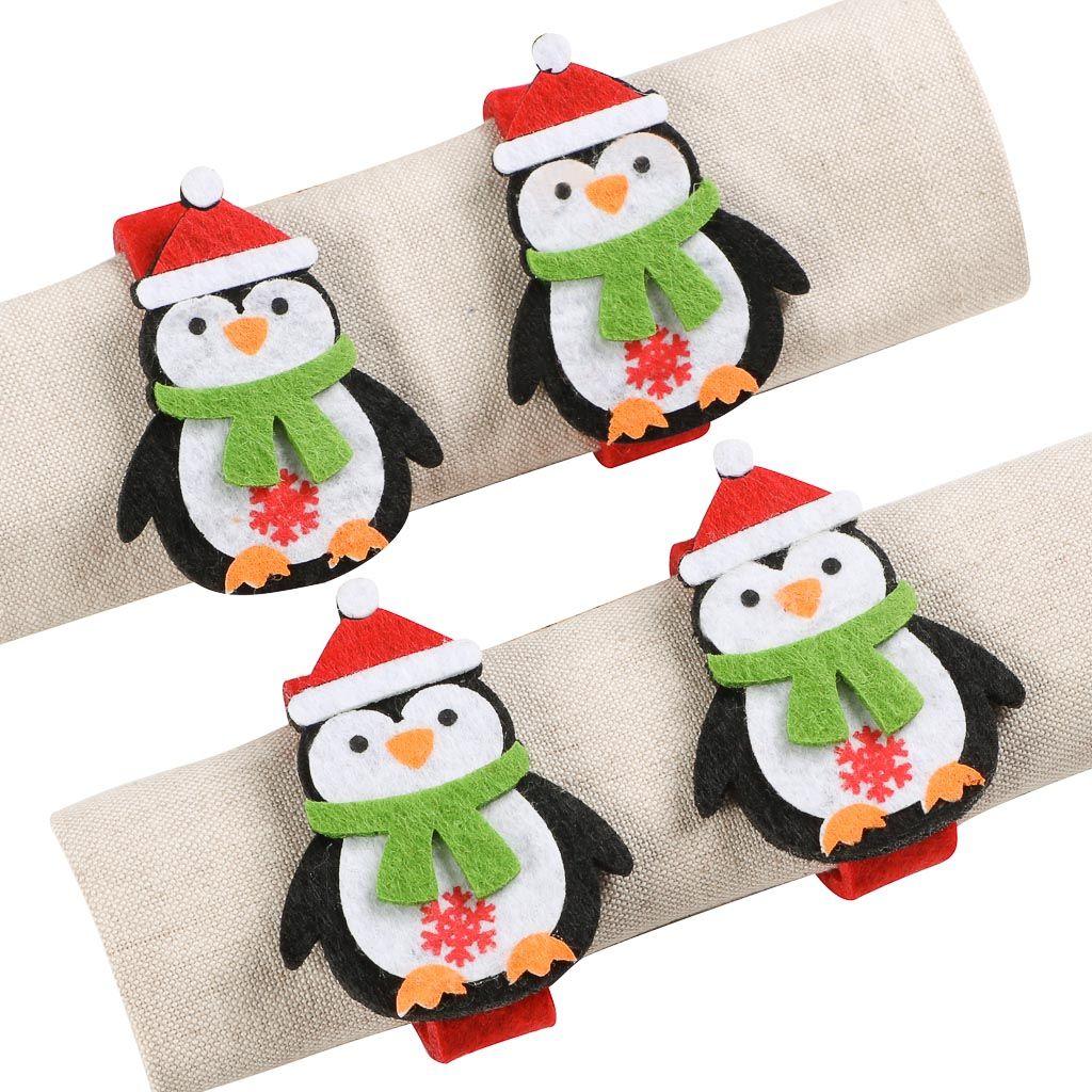 Set Of 4 Penguin Napkin Rings