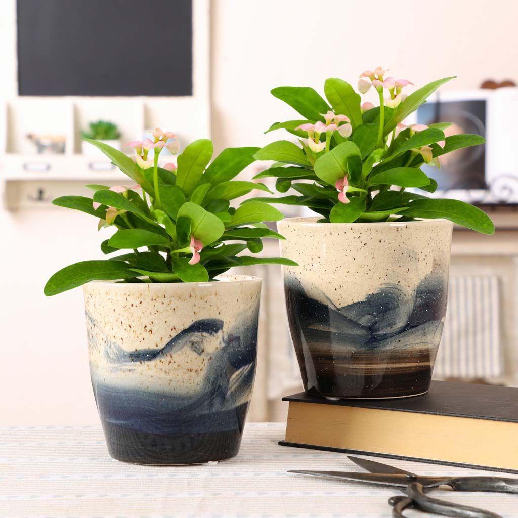 Set Of 2 Ceramic Speckled Flower Pots